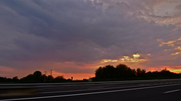 Sundown on the road